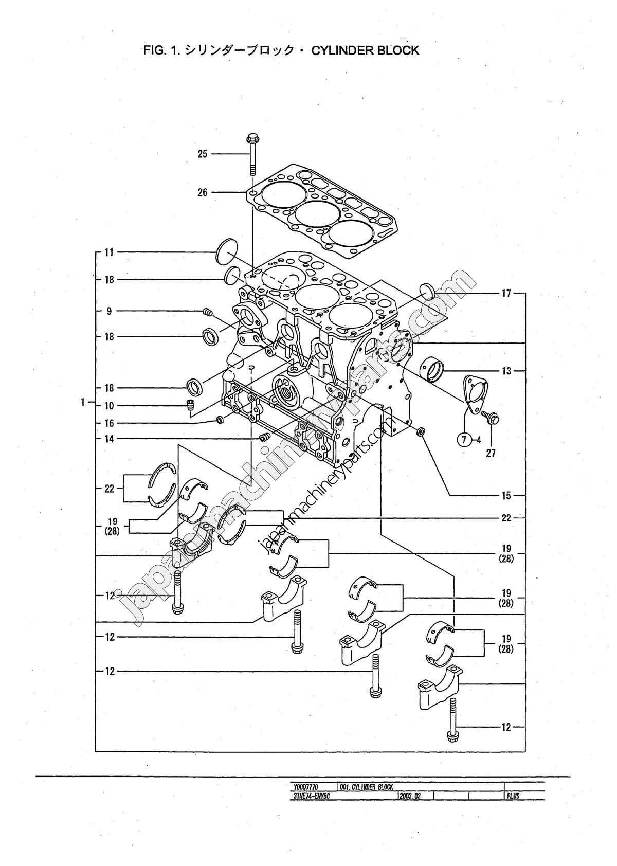 Parts for YANMAR 3TNE74-ENYBC
