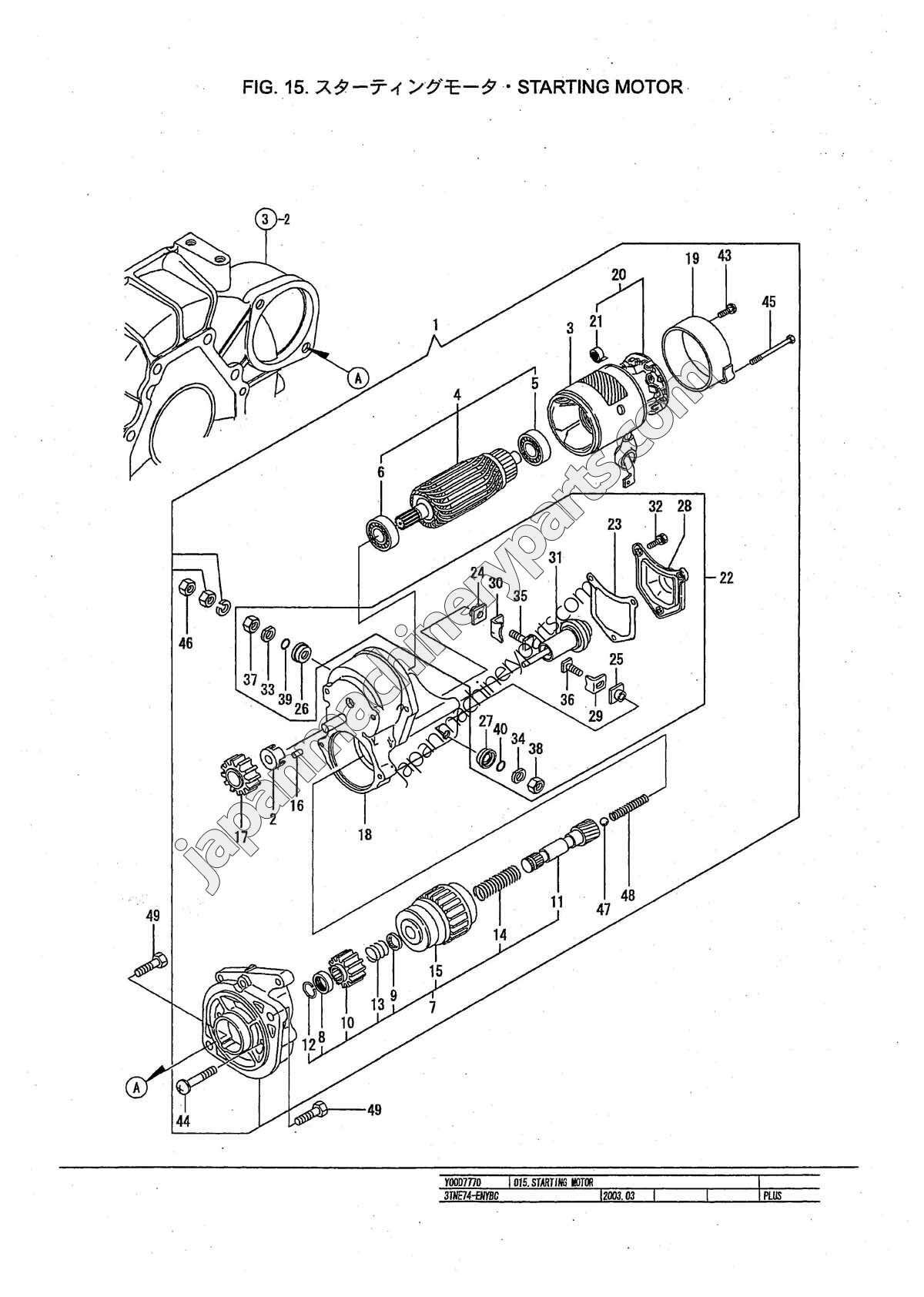 parts for yanmar 3tne74
