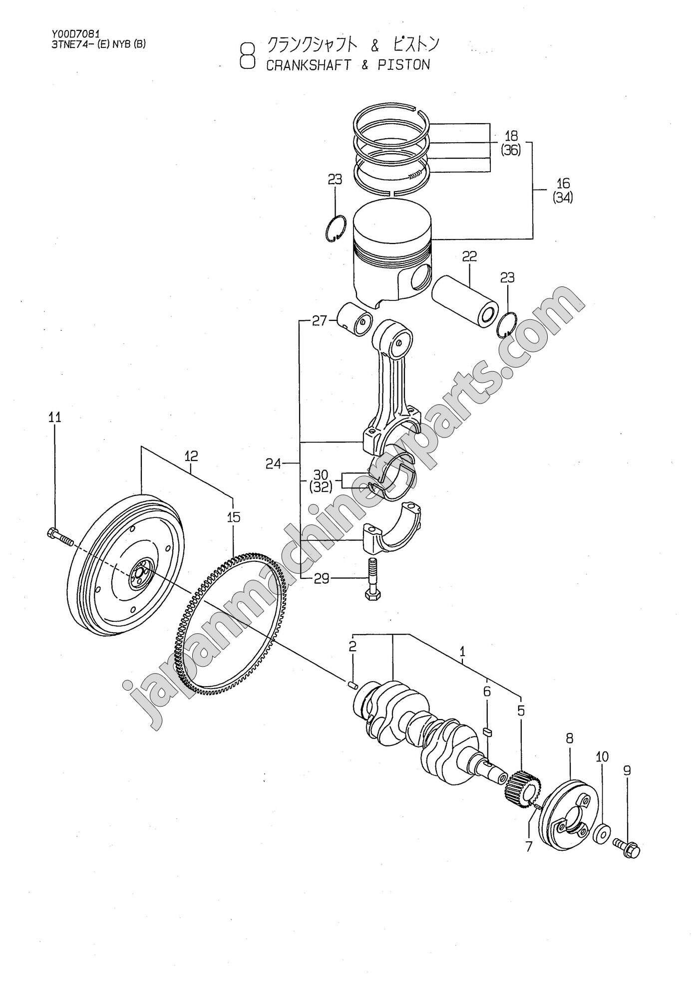 Parts for YANMAR 3TNE74-NYB/NYBB/ENYBB