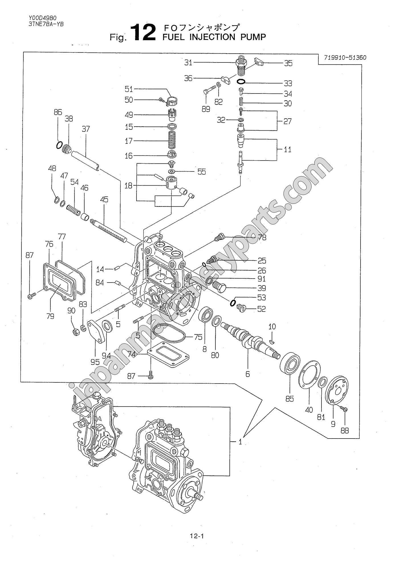 parts for yanmar 3tne78