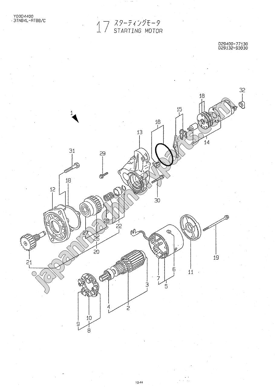 parts for yanmar 3tne84