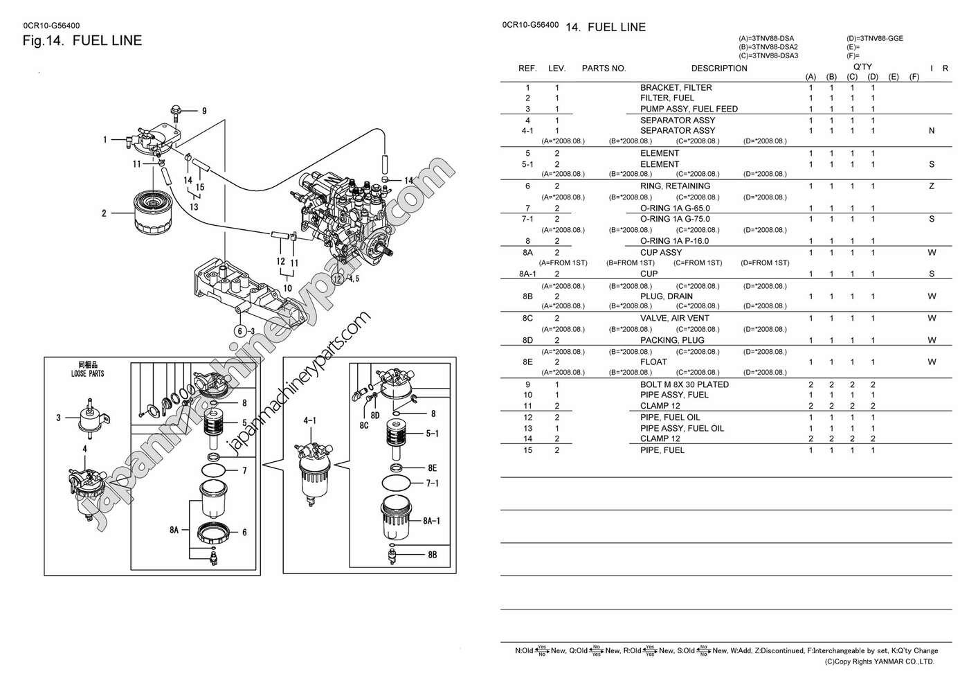 Parts For Yanmar 3tnv88 Dsa2  Dsa3  Gge