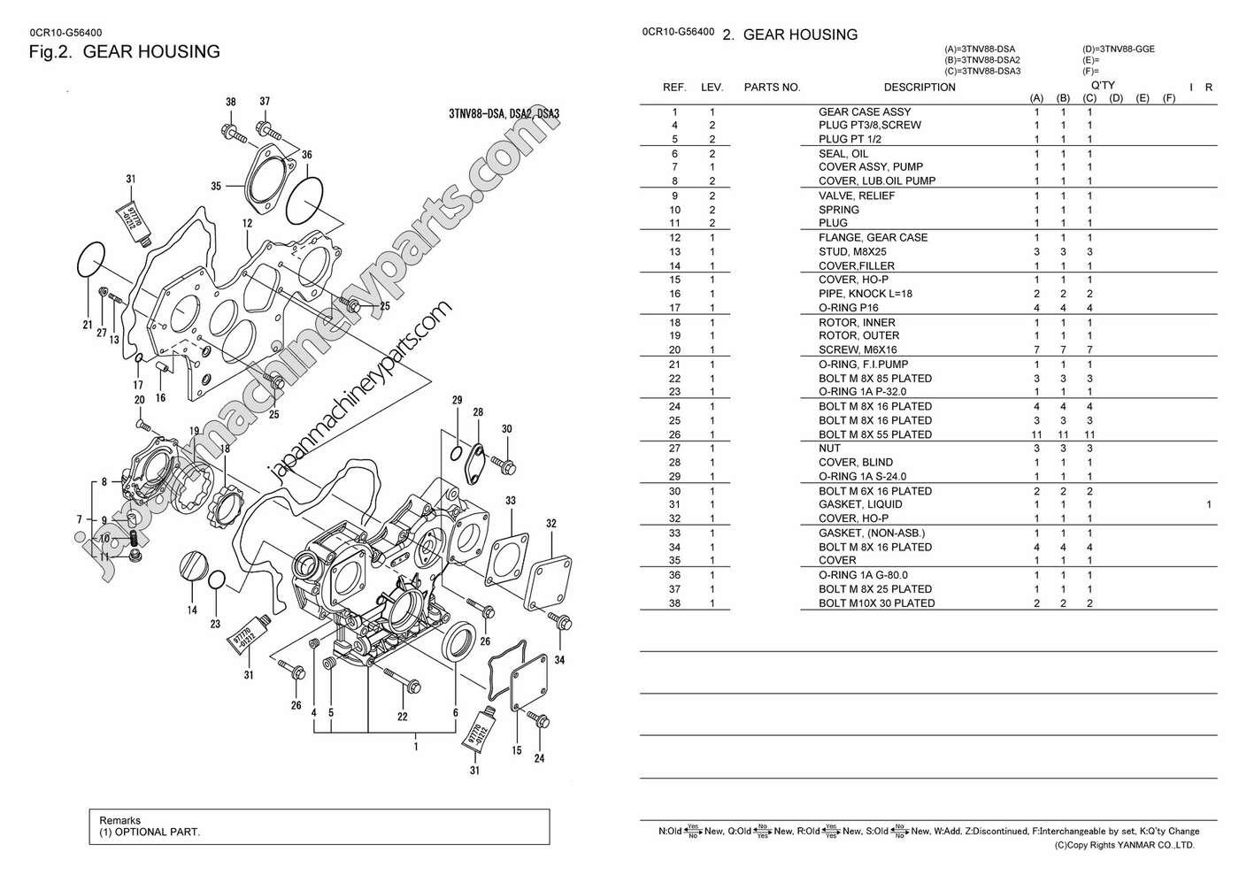 parts for airman 3tnv88 dsa dsa2 dsa3 gge rh japanmachineryparts com Yanmar Tractors yanmar 3tnv88 service manual download