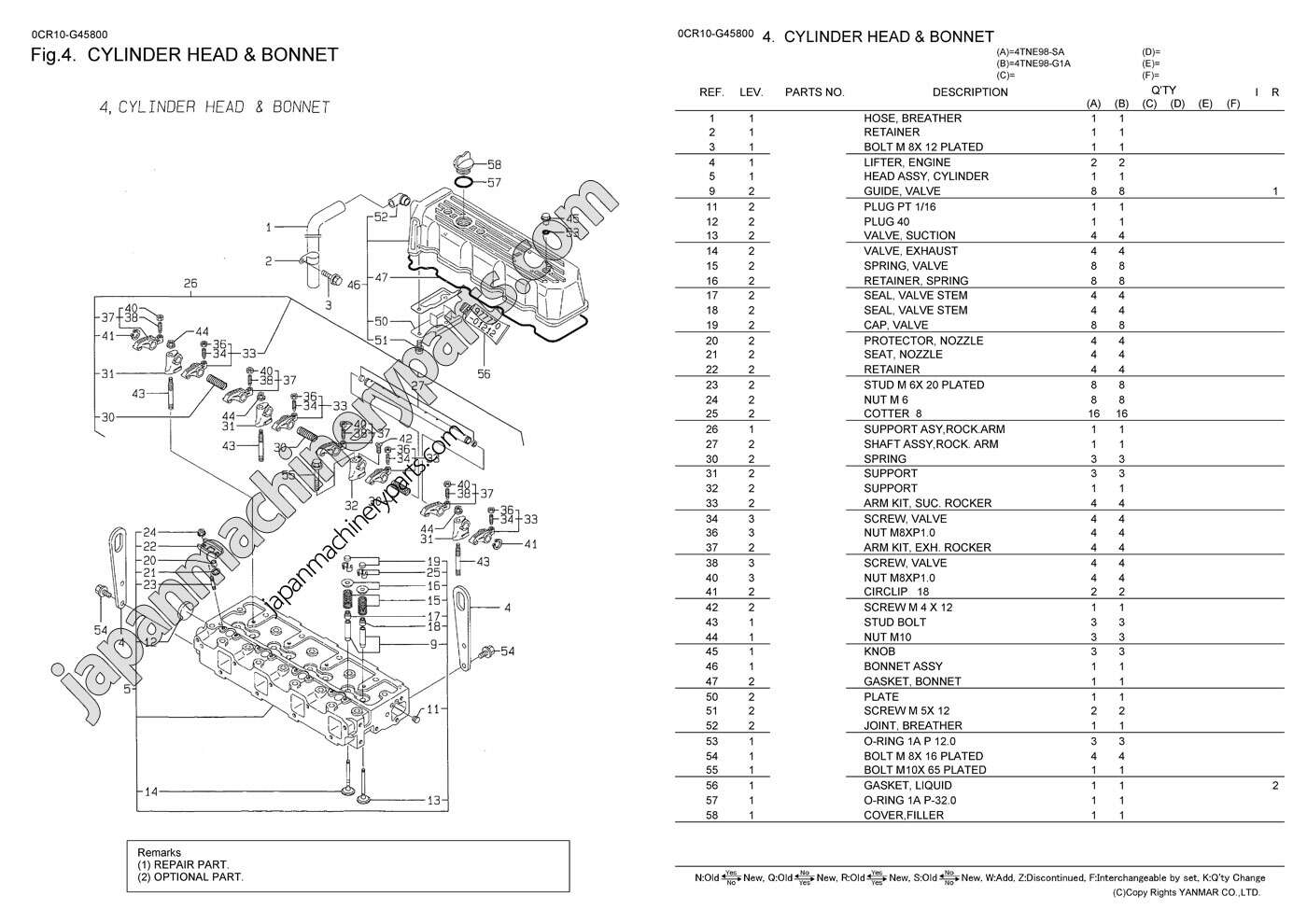 parts for yanmar 4tne98 g1a
