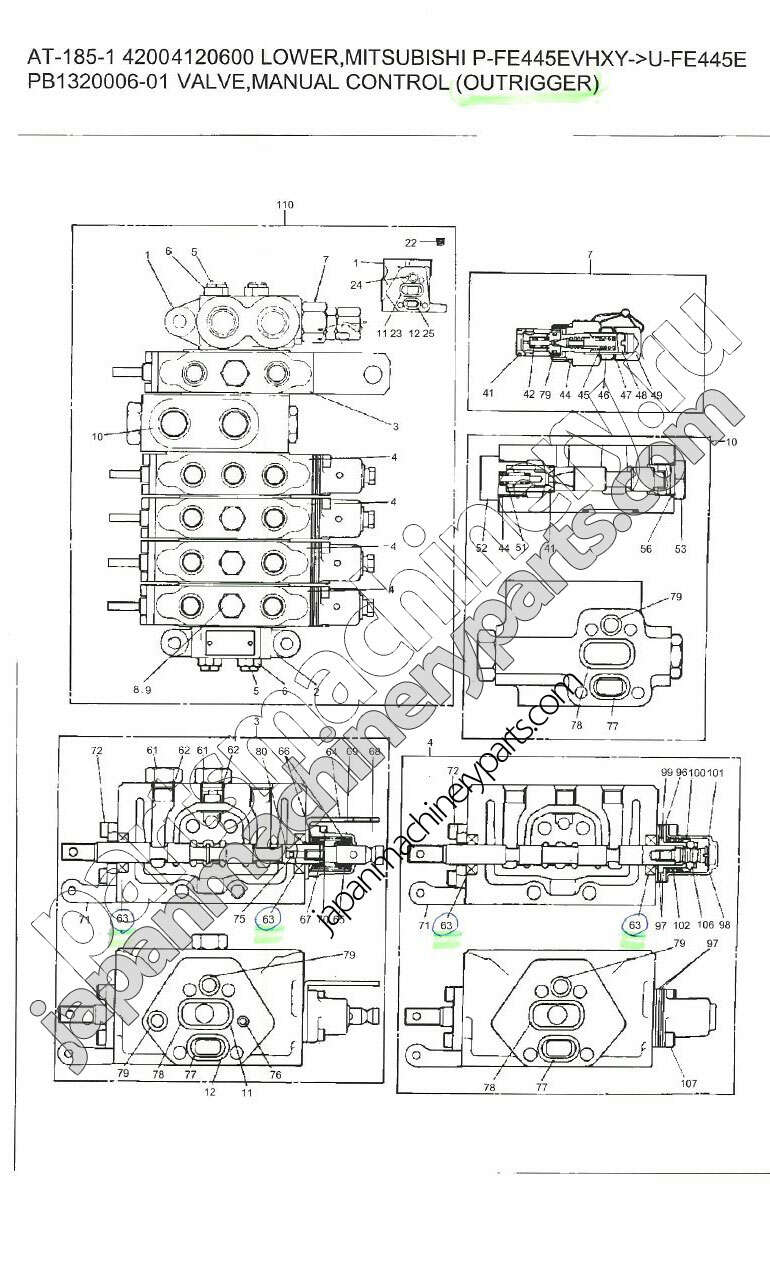 Parts for tadano at 185 1 valve manual control outrigger pooptronica