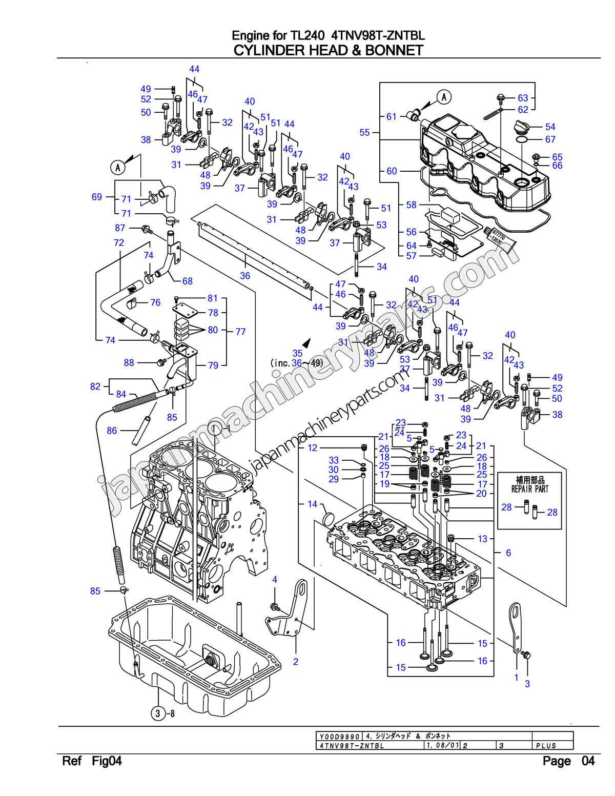 parts for yanmar 4tnv98t