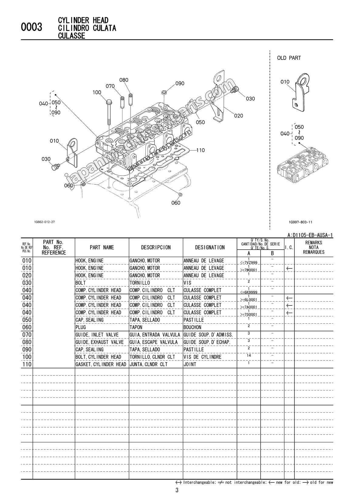 Parts for KUBOTA D1105-EB