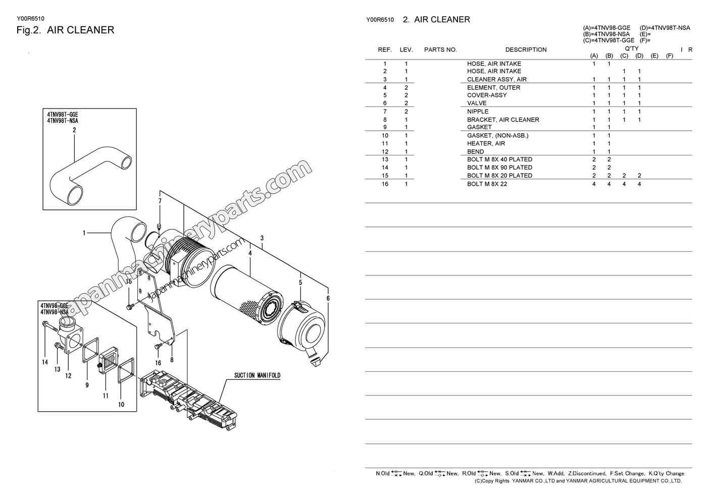 parts for yanmar 4tnv98 nsa nsa2 gge rh japanmachineryparts com
