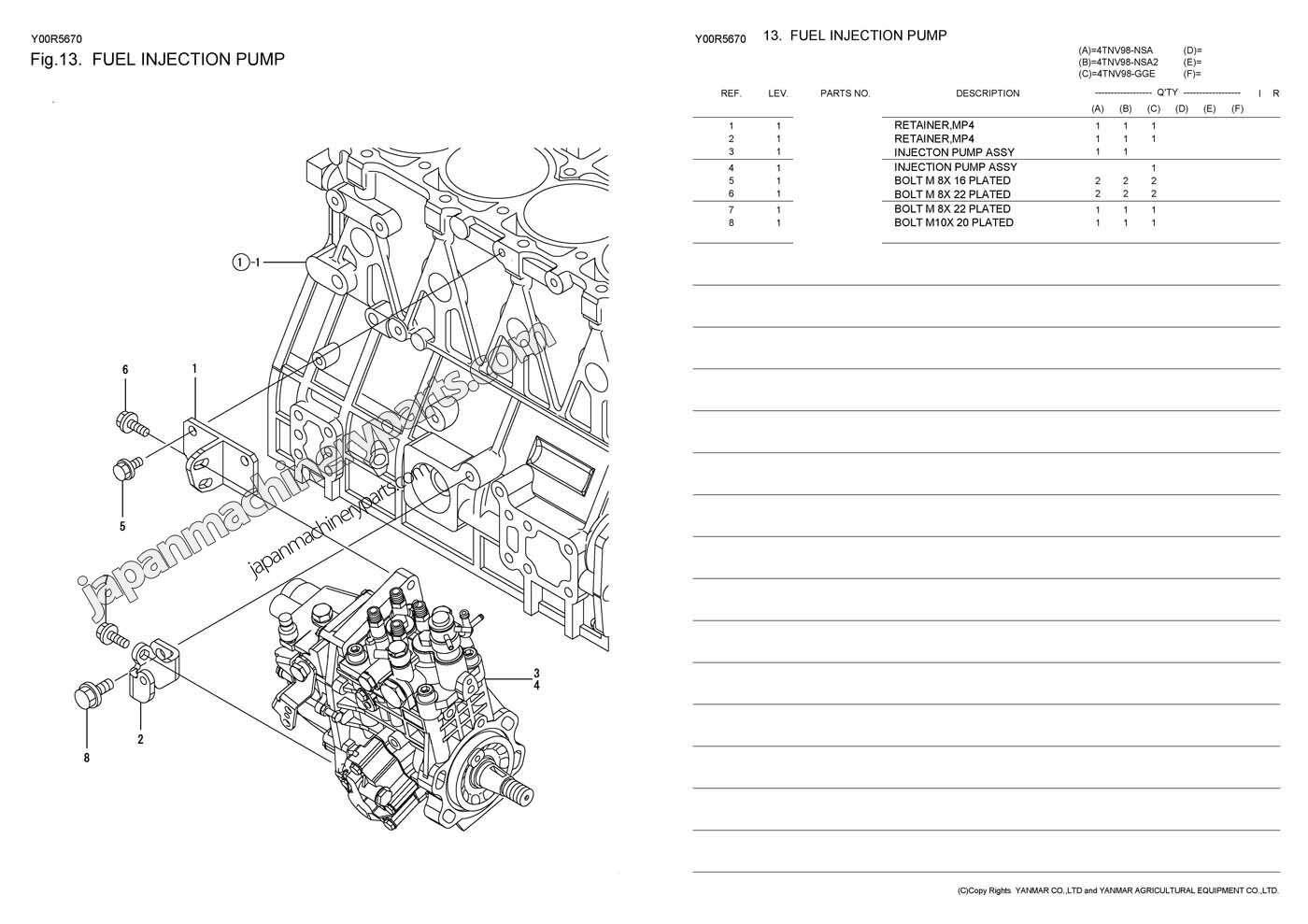 Parts For Yanmar 4tnv98 Nsa2  Gge