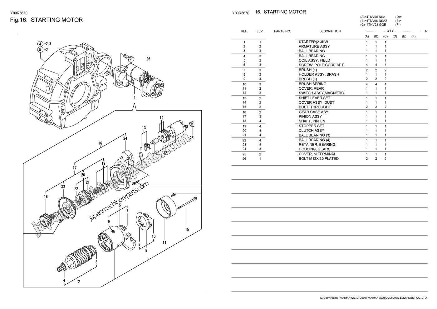Yanmar 4tnv Wiring Diagrams Manual Guide Diagram Alternator Tractor Parts For Aichi 4tnv98 Nsa Nsa2 Gge Rh Japanmachineryparts Com Ym2200 Manuals